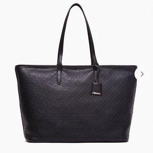 Calvin Klein Monogram Pebble Mid Tote Bag Black W